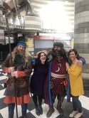 Jorfor's Hall Viking re-enactment group - Edmund and Jarl Jorfor with Janina Ramirez and Liz Million