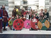 Shield Design winner Ada with Jorfor's Hall Vikings