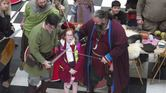 Vikings - Jarl Jorfor with Halvard and Halvard's shield maiden in training Olivia 2